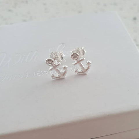 A268-C26932 - 925 Sterling Silver Anchor Earrings, 7x9mm