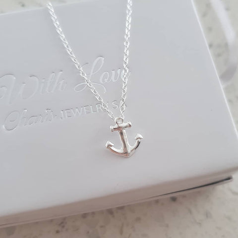 B59-C23532 - 925 Sterling Silver Small Anchor Necklace