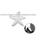 C1256-C27641 - 925 Sterling Silver Star Fish Ankle Chain
