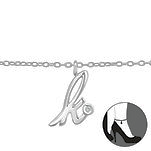 C813-C36606 - 925 Sterling Silver A-Z Any Initial Letter Ankle Chain Anklet