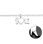 C202-C31581 - 925 Sterling Silver I love you ankle chain / anklet