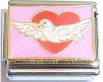 CL128 - Dove on heart (Thicker Chip, Imported Brand)