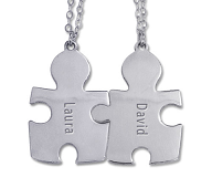N207B - Sterling Silver Couples Set of 2 puzzle piece necklaces