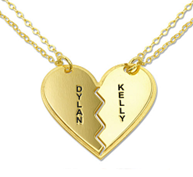 N151 - Gold Plated personalized breakable heart necklace