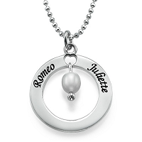 N34B - Sterling Silver Personalized Necklace with birthstone
