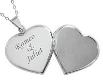 N35 - Sterling Silver Personalized Heart Locket, fits 2 photos