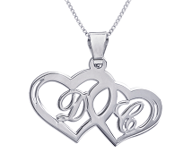 N175 - Sterling Silver Hearts Initials Necklace