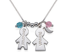 Personalized mother's necklace with children name tags and birthstones