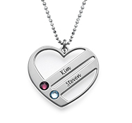 N128 - Sterling Silver Personalized Necklace with Couples Names & Birthstones
