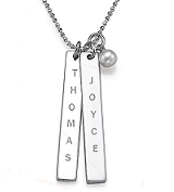 N101 - Sterling Silver Personalized Family Names Bar Necklace