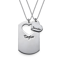 N802 - Sterling Silver Personalized Couples Necklace