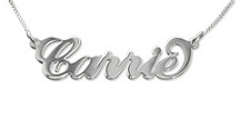 N5S - Sterling silver personalized carrie style name necklace, smaller font