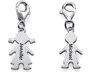 N803 - Sterling Silver Girl or Boy Pendant with Clasp, Clip On Dangle