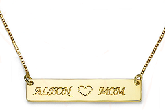 N71 - Gold Plated Bar necklace with two personalized names