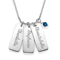 N249 - Sterling Silver personalized necklace with birthstone of choice