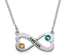 N403 - Sterling Silver Infinity Design personalized name necklace with Birthstones