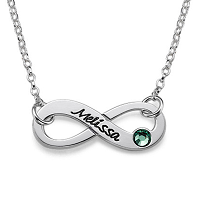 N407 - Sterling Silver Infinity Necklace personalized with name and birthstone