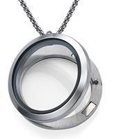 FL2 - Floating Locket Necklace, No Stones, High Quality Stainless Steel with Chain