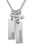 N121 - Sterling Silver Personalized Name Tags Necklace