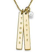 N96 - Gold Plated Personalized Bars necklace with dangle pearl (can be on a ball or rollo chain)