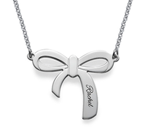 N800 - Sterling Silver Personalized Bow Necklace