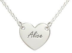 N105 - Sterling Silver Couples Heart Necklace, 1 Name on front and 1 on back.