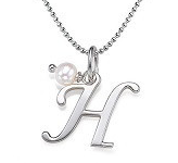 N54 - Sterling Silver Initial Necklace with dangle Birthstone