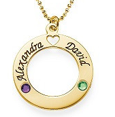 N98 - Gold Plated Couples names & Birthstones Necklace (can be on a ball chain or rollo chain)