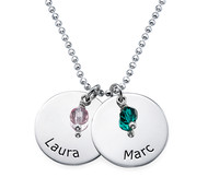 N160 - 925 Sterling Silver personalized Family / Couples Names & Birthstones Necklace