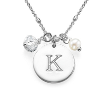 N400 - Sterling Silver personalized initial necklace with pearl and clear dangle