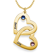 N95 - Gold Plated Couples names and birthstones heart necklace (can be on a ball or rollo chain)