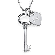 N181 - 925 Sterling Silver Key Necklace with Personalized Name or Initials (Ball or Rollo chain)