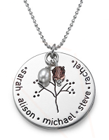 N55 - Sterling Silver Personalized Mothers Necklace, Family Names & Birthstone