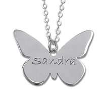 N1743R - Sterling Silver Personalized Butterfly Necklace