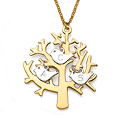 N70 - Gold Plated Family Tree Necklace with 3 personalized initials