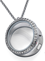FL1 - Floating Locket Necklace with Stones, High Quality Stainless Steel with Chain