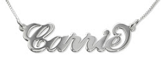 N5 - Sterling Silver personalized name necklace, carrie style font standard size.