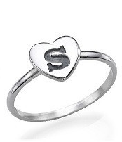 N993 - Sterling Silver personalized custom initial heart ring