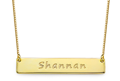 N92 - Gold Plated Personalized Custom Bar Name Necklace