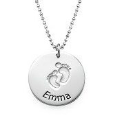 N208 - Sterling Silver Personalized Baby Feet Name Necklace (Ball or Rollo Chain)