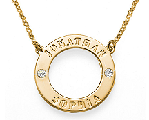 N93 - Gold Plated Couples Names Necklace with swarovski stones