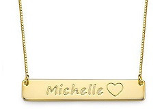 N91 - Gold Plated Personalized Custom Gold Bar Necklace