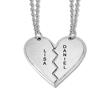 N183 - Sterling Silver Breakable heart personalized couples names necklace