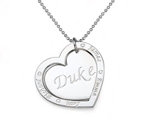 N104 - Sterling Silver Family Names Heart Necklace