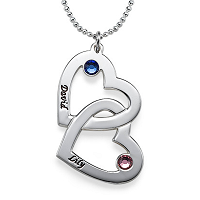 N97 - Sterling Silver Couples Names & Birthstones Personalized Necklace
