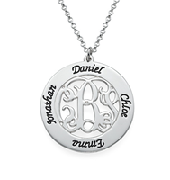 N901 - Sterling Silver Personalized Initials Monogram Neckalce with Family Names