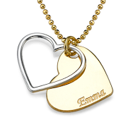 N100 - Very pretty 18K Gold Plated Heart necklace personalized with 1 name.