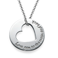 N987 - Sterling Silver heart design necklace, personalize with any words of choice