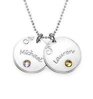N170 - Sterling Silver personalized family names & birthstones of choice.