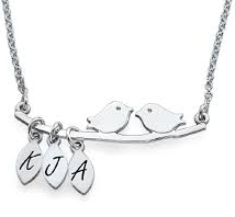 N450 - Sterling Silver Personalized Bird Necklace with up to 5 Initials